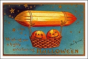 Art Postcard - Pumpkin Blimp