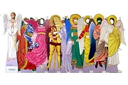 New Old Stock Die-Cut Angels through the Ages Paper Doll Set