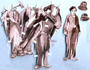 Die-Cut Charlie Chaplin Paper Doll in Old-Fashioned Sepia Tone