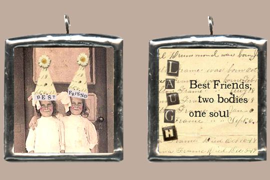 Handmade Silver Collage Pendant - Best Friends
