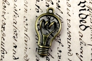 Antiqued Bronze Bright Idea Light Bulb Pendant