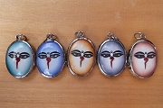 Buddha's Face with Ethereal Background Vitreous Enamel Pendant