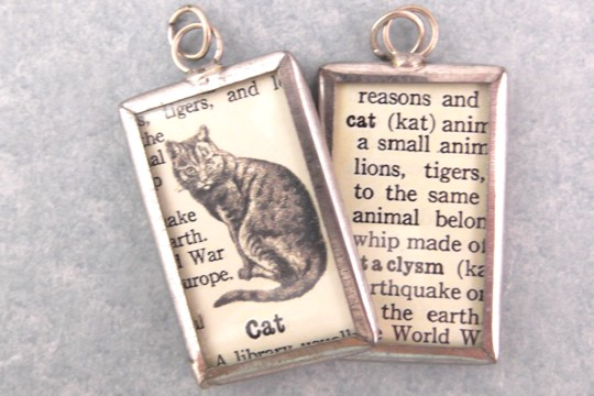Reversible Cat Definition Charm or Pendant