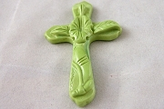 Hand-Made Pale Green Ceramic Cross Pendant