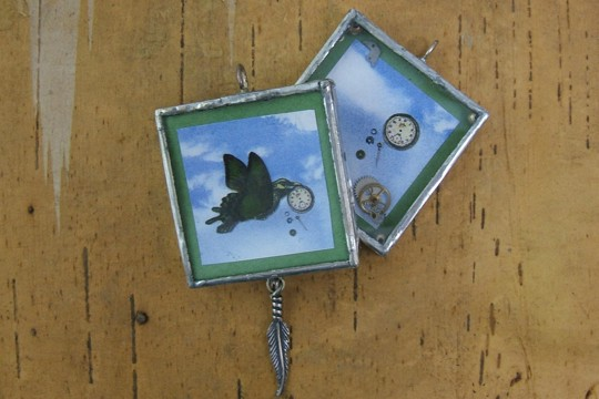 Reversible Handmade Silver Steampunk Moving Pendant with Feather Accent - Even as the Crow Flies, So Does His Time