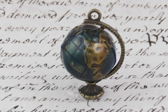 Enameled Antiqued Bronze Spinning Globe Pendant