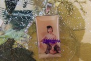 Vintage Color Photo Nudie with Drum Sterling Silver Pendant - Mature Warning