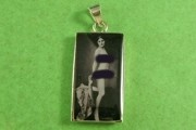Vintage Black & White Photo Nudie with Scarf in Sterling Silver Pendant - Mature Warning