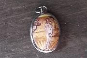 Vitreous Enamel Pendant of Botticelli's Venus - PAINTING DETAIL