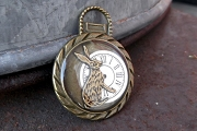 Antiqued Bronze White Rabbit and Clock Pendant