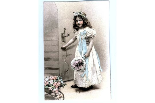 Lovely Reprint of a Vintage Tinted Photo of a Little French Girl