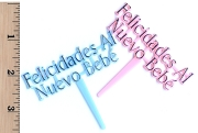Package of 2 Vintage Felicidades al Nuevo Bebe Picks or Cupcake Toppers