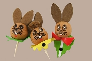 Set of 3 Old Fashioned Little Brown Bunny Picks