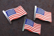 Package of 10 New Old Stock Brass USA Flag Pins
