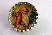 Bottle Cap Pin  - Old Fashioned Santa with Tree