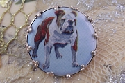 Vintage New Old Stock Cabochon Pin Featuring a Bulldog