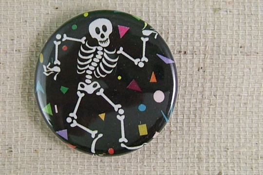 Dancing Calavera (La Calavera Baile) Pin-Back Button