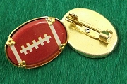 Vintage New Old Stock Football Cabochon Pin