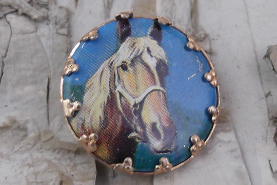 Vintage New Old Stock Cabochon Pin Featuring a Horse