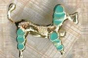 Vintage Novelty Metal French Poodle Pin with Fancy Tail