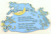 Vintage Plastic Nursery Rhyme Plaque - Hey-diddle-diddle - BLUE