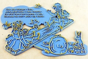Vintage Blue Plastic Nursery Rhyme Plaque - See Saw Margery Daw