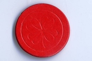 Vintage Red Pressed Paper Dennison Poker Chip
