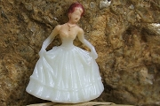 Teeny Tiny Plastic Prom Girl in Ivory Gown and Gloves