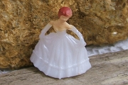Teeny Tiny Plastic Prom Girl in White Gown and Gloves