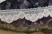 Vintage White Lace by the Inch with Sweet Pink Rose Scalloped Detail