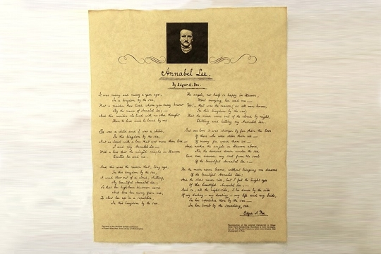 Annabel Lee by Edgar Allen Poe in His Own Hand - Reproduction Historical Document on Faux Parchment