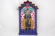 Second Quality Hand Made and Painted Blue Catrina Retablo