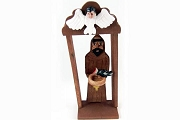 Handmade Saint Francis Bulto Statue in Niche with Crow