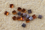 Vintage 3mm Square Amber Glass Rhinestones