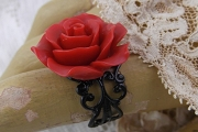 Adjustable Red Rose Black Filigree Ring