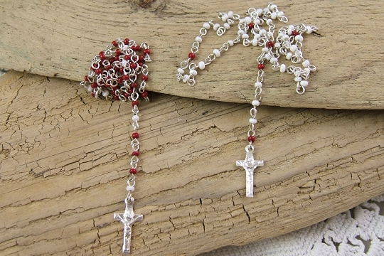 Miniature Glass Rosary from the Czech Republic