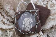 Vintage Cloth & Glass Scapular - St Michael the Archangel
