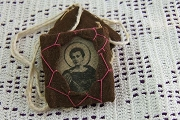 Vintage Hand Embroidered Scapular featuring Saint Expedito