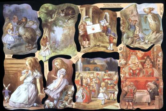 Reproduction Chromolithograph Embossed Die-Cut Reliefs - Alice in Wonderland Set 2