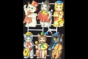 Band O' Kitties - Reproduction Chromolithograph Embossed Die-Cut Reliefs