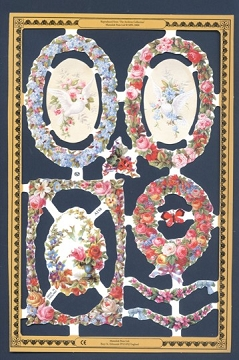 Birds in Frames - Reproduction Chromolithograph Embossed Die-Cut Reliefs