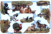 SCRAPS - Reproduction Chromolithograph Embossed Die-Cut Reliefs - Down on the Farm