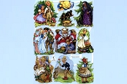 Fairy Tales with Crows - Reproduction Chromolithograph Embossed Die-Cut Scraps