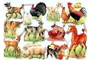 SCRAPS - Reproduction Chromolithograph Embossed Die-Cut Reliefs - Farm Animals