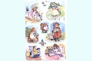 Reproduction Chromolithograph Embossed Die-Cut Scrap Reliefs - Girls at Play