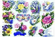 Pastel Bouquets with Birds & Lilies Retired Reproduction Glittered Chromolithograph Embossed Die-Cut Scraps