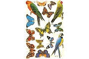SCRAPS - Reproduction Chromolithograph Embossed Die-Cut Reliefs - Glitter Butterflies And Birds