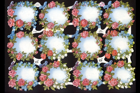 Hand-Glittered Reproduction Chromolithograph Embossed Die-Cut Reliefs - Glitter Flowery Frames