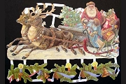 Hand-Glittered Reproduction Chromolithograph Embossed Die-Cut Reliefs - Glitter Santa's Sleigh
