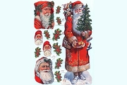 Hand-Glittered Reproduction Chromolithograph Embossed Die-Cut Reliefs - Glitter Santa with Tree